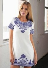 Платье-шифт из хлопка с этническим принтом