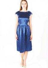 Платье Татьянка из синего атласа в белый горошек