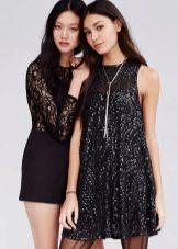 Праздничное черное платье трапеция с блестками