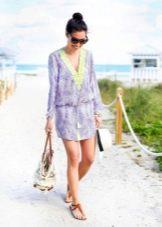Пляжное платье-туника с поясом