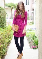 Туника-платье с завышенной талией