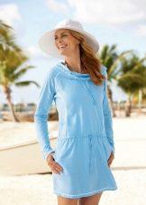 Платье туника голубая пляжная с рукавами