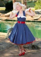 Ретро образ с синим платьем в горошек