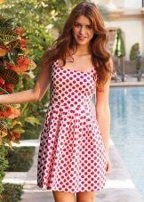 Белое в красный горох платье - сарафан