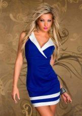Синее платье с белым воротником морское