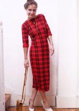 Платье футляр в красно-черную шотландскую клетку (тартан)