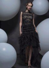 Платье в стиле чикаго  с бахромой короткое спереди длинное сзади