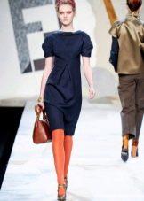 Платье прямое в стиле 60-х синее