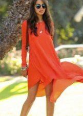 Оранжевое шифоновое платье с длинным рукавом