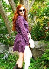 Клетчатое платье с длинным рукавом