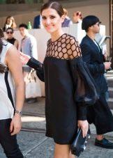 Черное платье с длинным рукавом амадисом