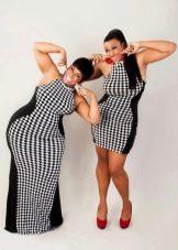 Платье в шахматную клетку для полных
