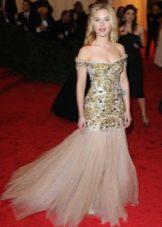 Платье русалка с золотой расшивкой