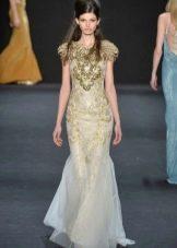 Платье русалка с золотым декором