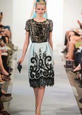 Платье в стиле барокко черно-белое