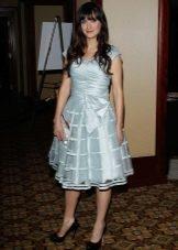 Платье в стиле нью лук из нежно-голубого атласа