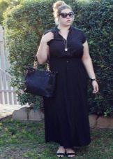 Длинное повседневное платье-рубашка для полных