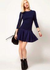 Черное короткое зимнее платье