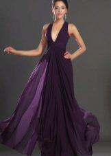 Расклешенное фиолетовое платье длинное в пол