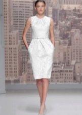 Строгое свадебное платье футляр из ткани муар