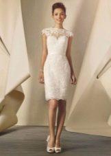 Свадебное платье футляр из кружева средней длины