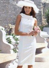 Строгое свадебное платье футляр с воротником