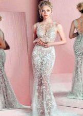 Кружевное свадебное платье-футляр со шлейфом (русалка)