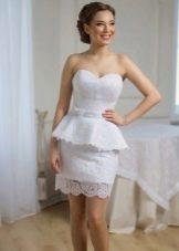 Свадебное платье футляр с баской