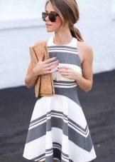 Платье бело-серое в полоску