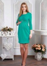Бирюзовое трикотажное платье для беременных