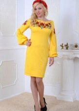 Желтое украинское трикотажное платье