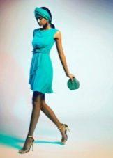 трикотажное зеленое платье короткое