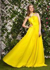 Желтое трикотажное платье в пол