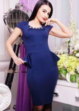 Платье с баской трикотажное