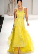 Желтое весеннее платье