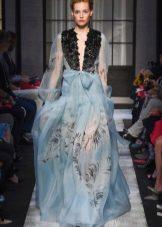 Весенне платье в пол из шифона с рукавами