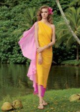 Летнее пляжное желтое платье