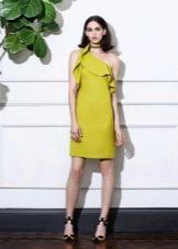 Горчичное летнее платье