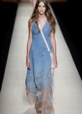 Летнее платье из джинса длинное