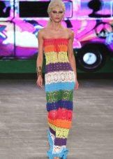 Цветное вязаное летнее платье