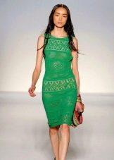 вязаное летнее платье зеленое