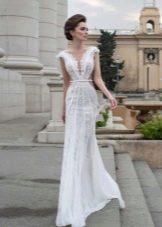 Свадебное платье летнее кружевное с вырезом