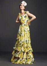Многоярусное летнее платье желтое