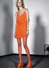 Летнее  платье оранжевое