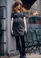 Осеннее платье для беременных с завышенной талией