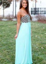 Длинное двухцветное платье-бандо с шифоновой юбкой