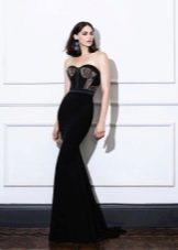 Платье без бретелей черное русалка