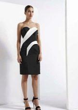 Платье без бретелей черное с белым