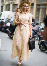 Длинное платье-халат с воротником