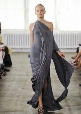 Платье из джерси с драпировкой асимметричное